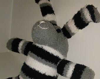 Fuzzy Sock Bunny Stripe Black White Gray Soft Plush Handmade