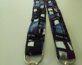Doctor Who TARDIS Blue Fabric Lanyard Keychain Handmade
