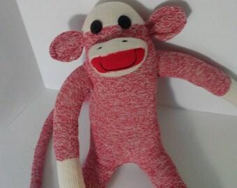Original Sock Monkey Red Rockford Red Heel Soft Doll Handmade