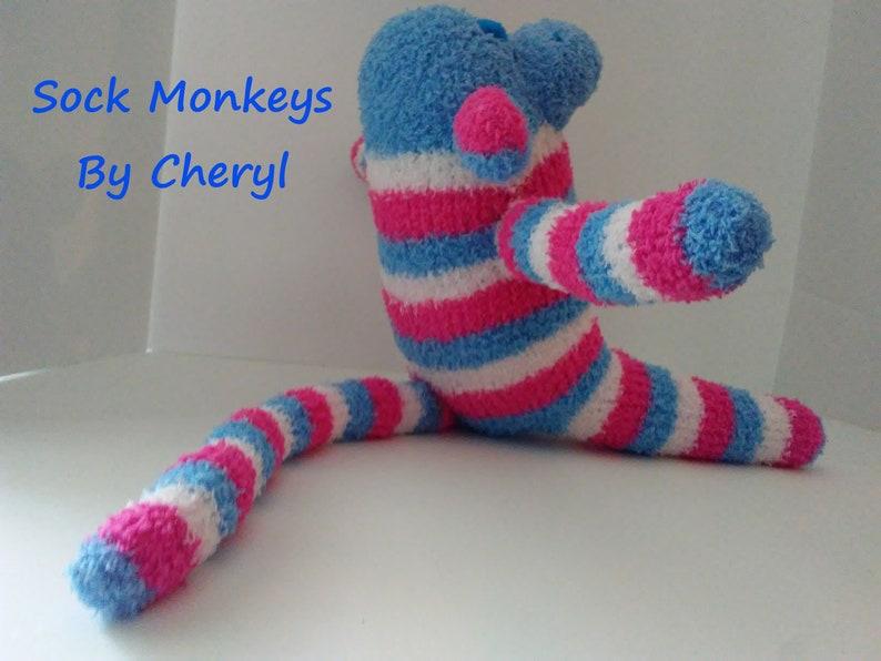 Fuzzy Sock Monkey Toy Pink Blue White Stripe Soft Plush Doll Handmade