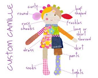 custom rag doll   custom doll    girl rag doll    camille custom cloth doll    personalized gift   keepsake doll    first doll