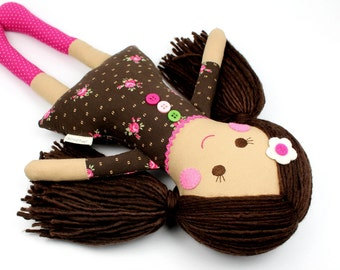 doll with yarn hair   handmade rag doll   camille cloth doll   first doll   keepsake rag doll   girl doll
