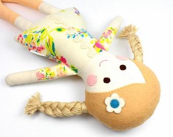 fabric rag doll   camille doll for girl   girl rag doll   handmade doll    soft toy    cloth doll
