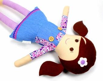 fabric rag doll   camille doll for girl    flower doll   handmade doll    soft toy    cloth doll