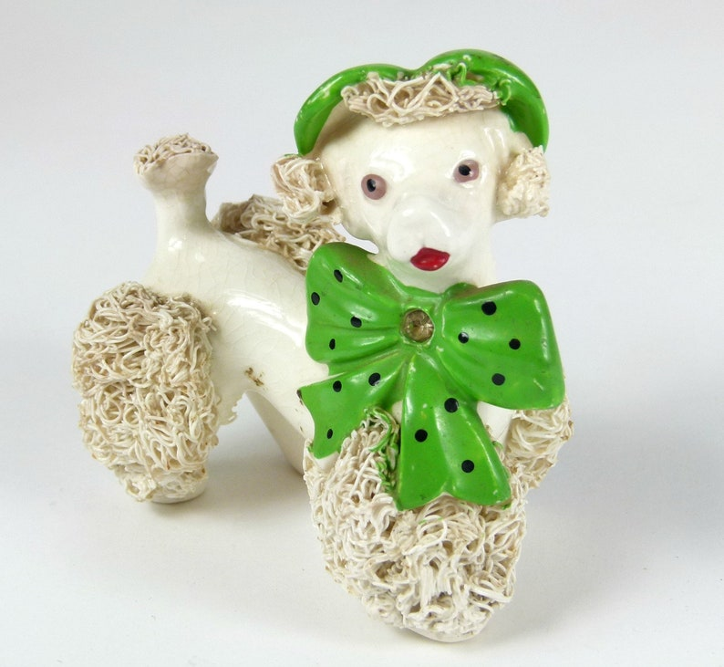 Green Rhinestone Bow Tie and Beret Vintage Lefton China Spaghetti French Poodle