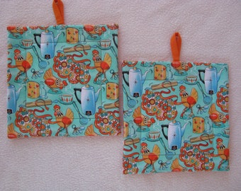 mid century modern kitchen potholders 1950s retro hot pads quilted fabric potholders hostess gift polka dots kitchen decor set of 2 - Kitchen Hot Pads