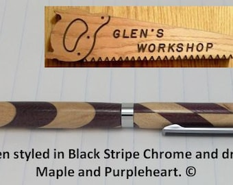 Stylus Pen Handmade Ballpoint Pen Touch Pad Stylus Black Stripe Chrome Maple Purpleheart
