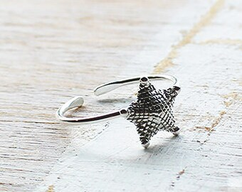 Starfish Toe Ring, Boho Toe Ring, Silver Toe Ring, Adjustable Toe Ring