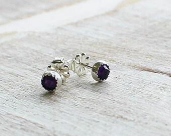 Rose Cut Amethyst Gemstone Stud Earrings, Birthstone Earrings, Amethyst Faceted Earrings, Purple Earrings
