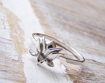 Sterling Silver Lotus Ring, Silver Lotus Stack Ring, Stack Ring, Boho Ring, Yoga, Flower Ring