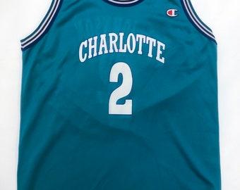 f2d9924ce155 Vintage 90's NBA Charlotte Hornets Larry Johnson Autographed Champion Jersey