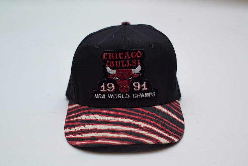 1379d724b46 Vtg 1991 NBA World Champion Chicago Bulls Zubaz Snapback Hat