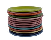 Vintage Fiestaware, Post 86 Salad Plates in Turquoise, Rose, Periwinkle, White, Apricot, Red, Yellow, Shamrock, Cobalt Blue and Black
