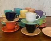 Vintage Fiesta Cups Saucers, Post 86 Colors Turquoise, Rose, White, Apricot, Chartreuse, Sea Mist,Periwinkle, Yellow Cobalt Blue and Black