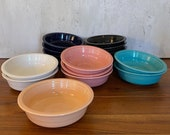Vintage Post 86 Fiesta Straight Side Cereal Soup Bowls Turquoise Rose White Apricot Cobalt Blue and Black