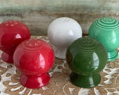 True Vintage Fiesta Shakers, Various Colors, Buyers Choice, Forest Green, Light Green, Post 86 White, Post 86 Red Red