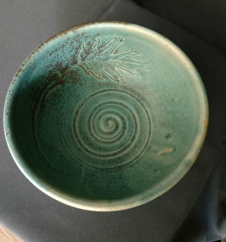 aqua green glaze chili or stew bowl Handmade pottery bowl with oak leaf