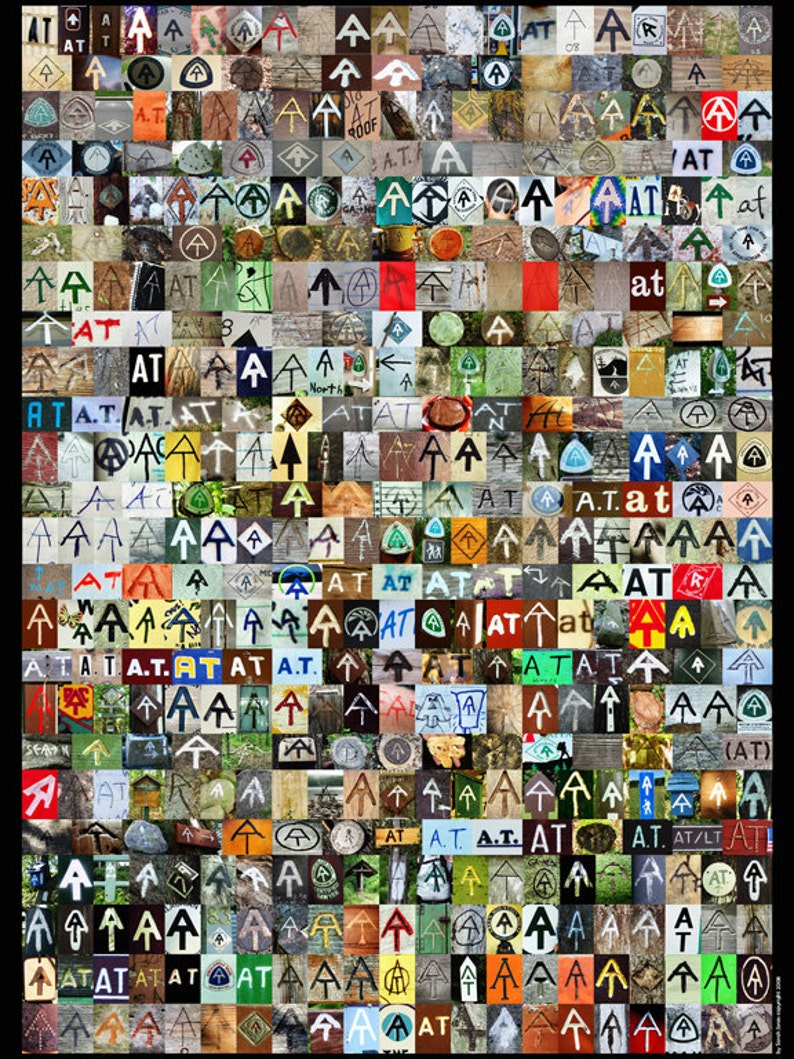 The AT Poster // Appalachian Trail Symbol Collage Poster image 0