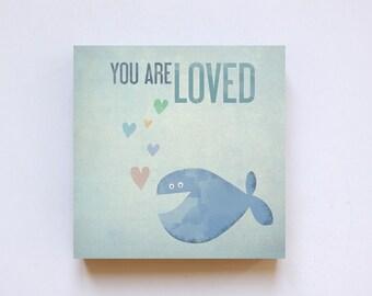 """Love"" on wood 20 x 20 print"