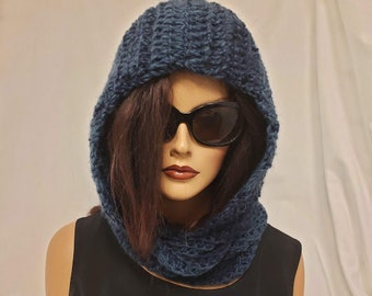 Hand Crocheted Hooded Cowl/ Scoodie/ Hooded Scarf