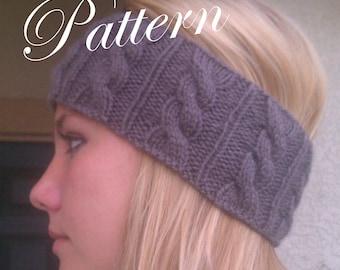 PDF Pattern Knitted Cabled Headband Headwrap Earwarmer