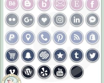 Social Media Icons ROUND SET 1