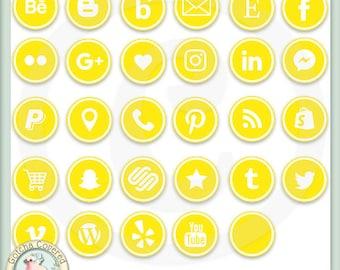 Social Media Icons ROUND YELLOW
