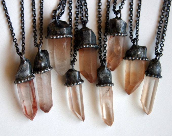 Small Natural Peach Quartz Crystal Necklace