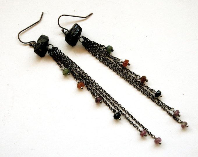 Tourmaline Fringe Dangle Earrings // Black and Rainbow Tourmaline Cascading Drop Statement Earrings