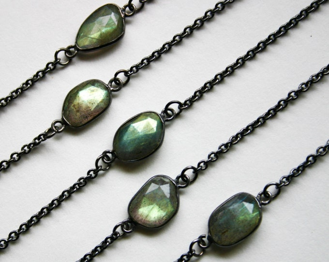Petite Gold Labradorite Gunmetal Necklace // Minimal Labradorite Layering Necklace