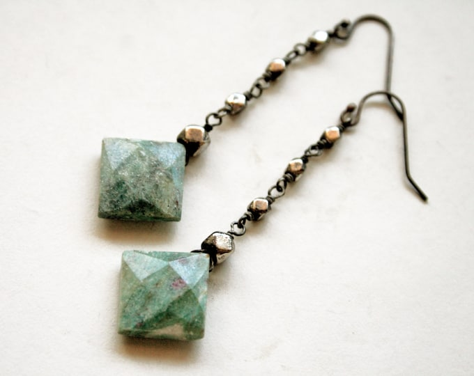 Ruby Fuchsite Dangle Earrings // Green Fuchsite Drop Earrings