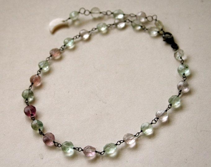 Rainbow Fluorite Choker Sterling Silver Necklace