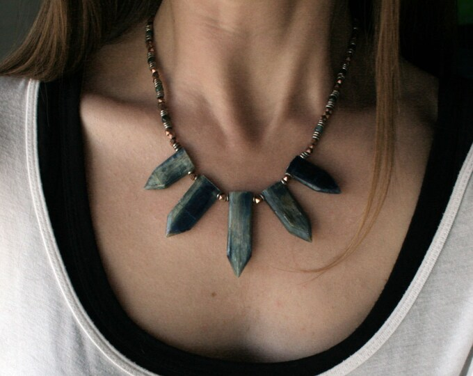 Kyanite Dagger Fan and African Trade Bead Necklace // Kyanite Copper and Silver Beaded Statement Boho Necklace