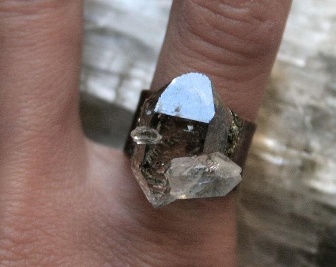 Tibetan Clear Quartz Crystal Cluster Ring