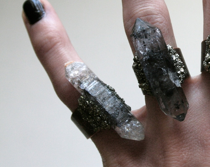 Choose Your Tibetan Smoky Quartz Crystal Ring // Double Terminated Crystal Adjustable Ring // Crystal Ring with Pyrite