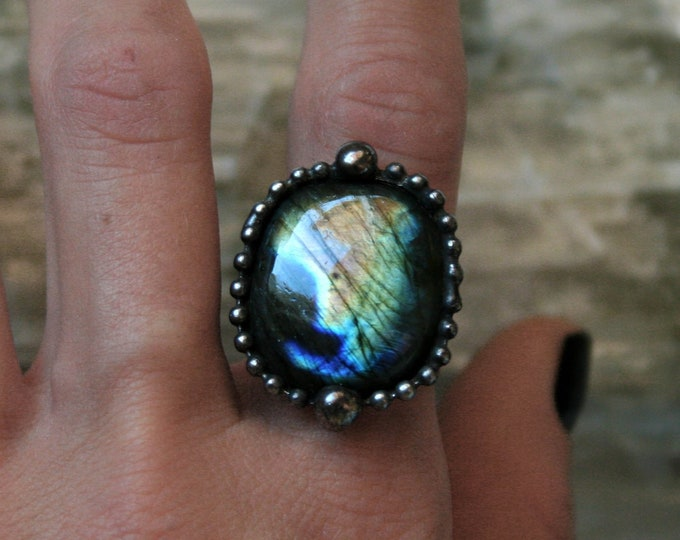 Rainbow Labradorite Rectangular Ring // Labradorite Adjustable Ring