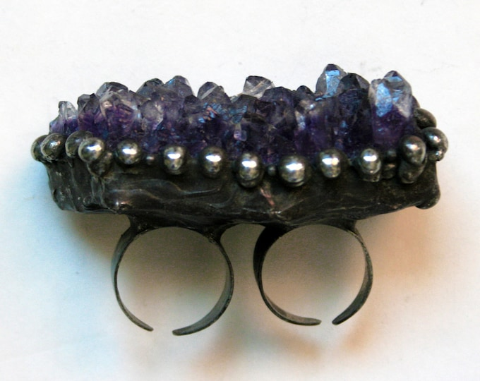 Massive Amethyst Cluster Crystal Double Ring // Two Finger Purple Amethyst Crystal Adjustable Ring