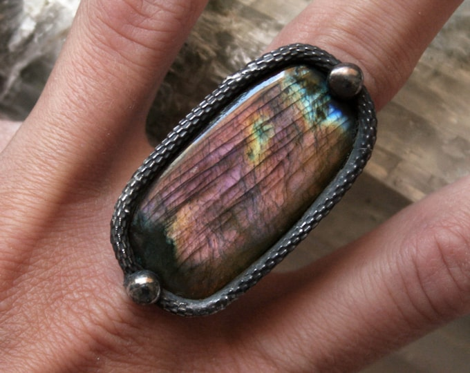 Large Pink Purple Rainbow Labradorite Ring // Labradorite Adjustable Ring