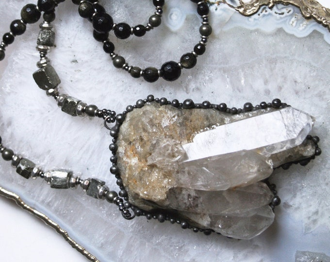 Massive Mojave Quartz Cluster and Golden Obsidian Pyrite Necklace // Quartz and Pyrite Statement Layering Necklace