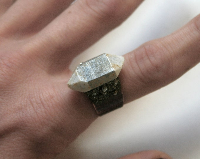 White Tibetan Quartz Crystal Ring // Double Terminated Clear White Crystal Adjustable Size Ring with Pyrite