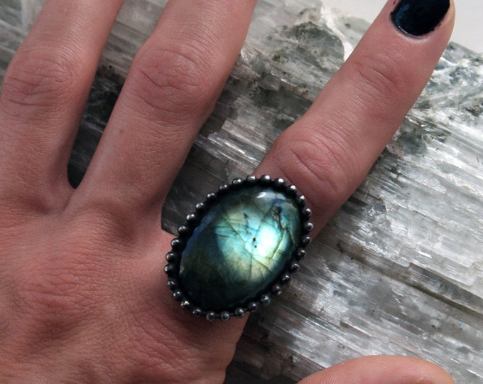 Aqua Labradorite Ring // Blue Gold Rainbow Labradorite Round Adjustable Ring
