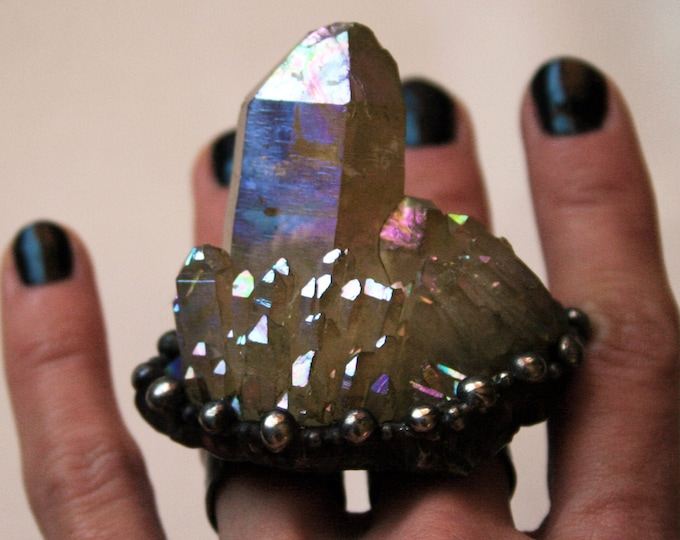 Massive Angel Aura Crystal Cluster Double Ring // Large Rainbow Aura Quartz Statement Ring // Double Finger Ring with Iridescent Crystal