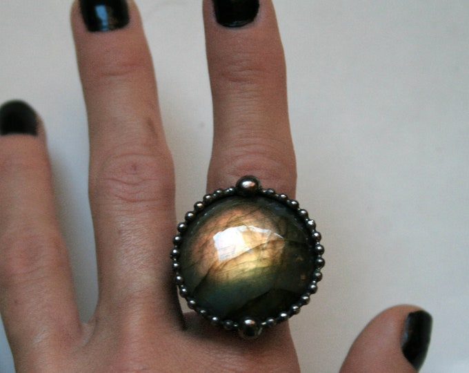 Gold Labradorite Round Ring // Labradorite Adjustable Ring