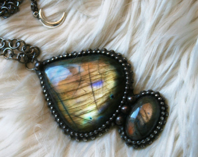 Massive Labradorite Petal Necklace // Rainbow Labradorite Statement Necklace