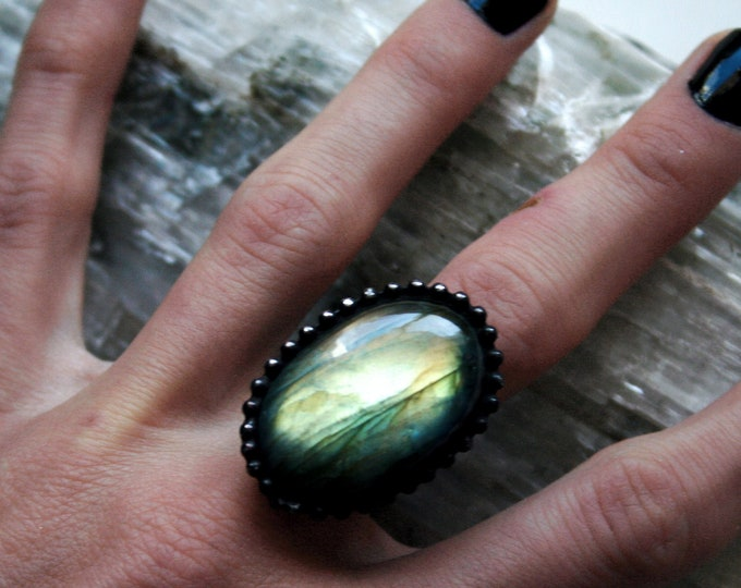 Gold Labradorite Ring // Yellow Gold Rainbow Labradorite Round Adjustable Ring
