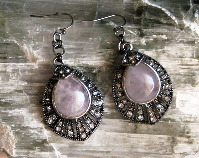 Rose Quartz Rhinestone Earrings // Rose Quartz Sparkle Statement Dangle Earrings // Boho Glam Rose Quartz Pink Silver Earrings