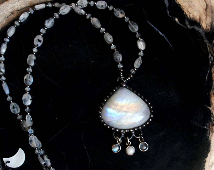 Rainbow Moonstone and Iolite Crystal Necklace
