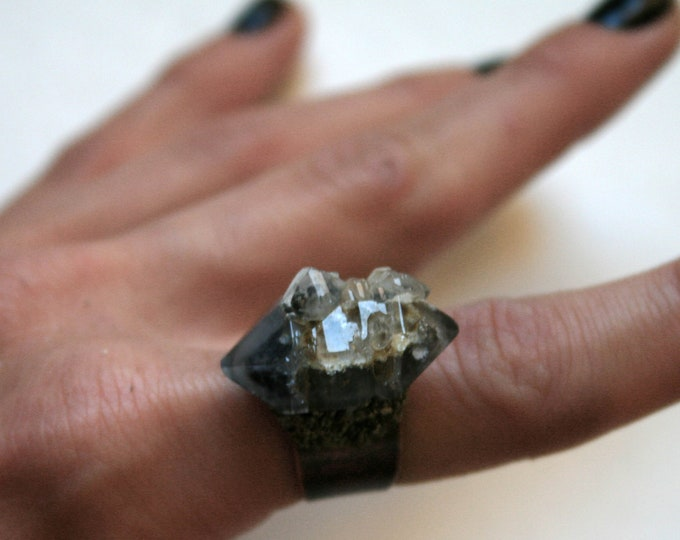 Tibetan Smoky Quartz Elestial Crystal Ring // Terminated Crystal Adjustable Ring // Crystal Cluster Ring with Pyrite