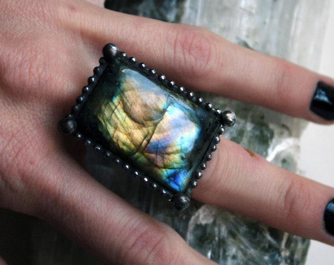 Purple Rainbow Labradorite Ring // Yellow Gold Purple Blue Rainbow Labradorite Rectangle Adjustable Ring