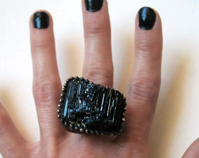 Large Black Tourmaline Crystal Statement Ring // Large Raw Tourmaline Adjustable Ring